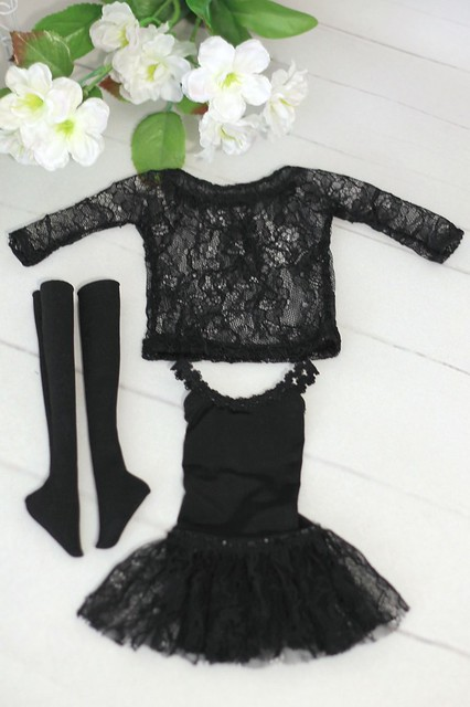 Black strap dress with blouse