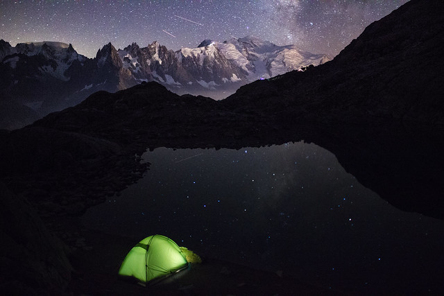 Camping under the milky way in Lac Blanc in the French Alps