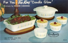 Fire King Candle Glow Advertising Postcard