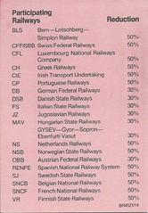 Rail Europ Senior Citizen Railcard issued at Bradford Interchange, 1984 (back cover)