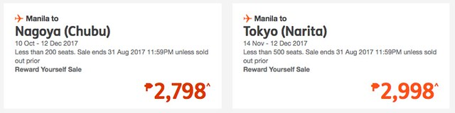 Manila to Nagoya or Tokyo Jetstar Promo