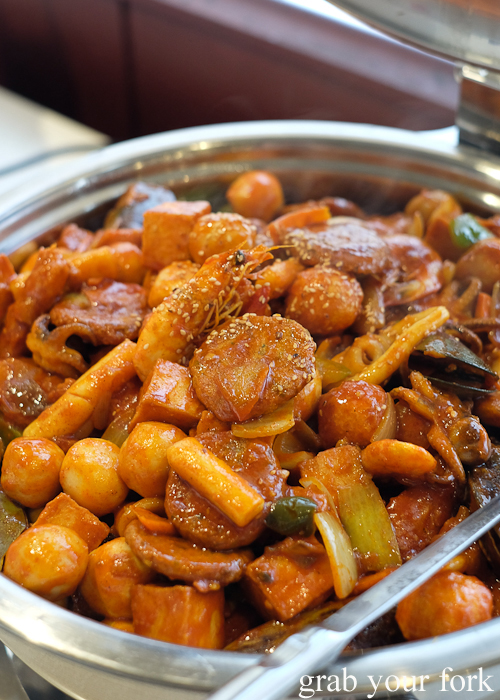 Tteokbokki stir fried rice cakes at Yass Korean BBQ Buffet in Strathfield Sydney