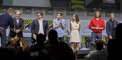 Moderator Chris Hardwick, Steven Spielberg, Ernest Cline, Tye Sheridan, Olivia Cooke, T.J. Miller and Ben Mendelsohn