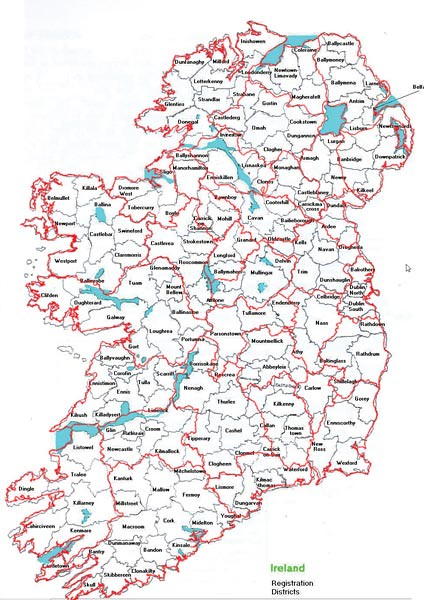 Map Of Ireland With County Borders.Townlands Index Irish Origins