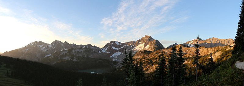 Panorama shot of dawn light on Chiwawa and Fortress Mountains from Cloudy Pass