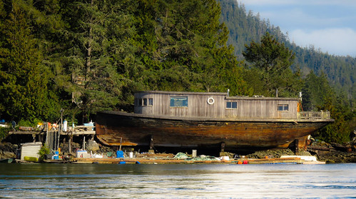 A floating village and old houseboat just off of the town of Tofino on the far west coast of Vancouver Island