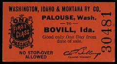 Washington, Idaho & Montana Railway, Destination Bovill, Idaho - Palouse, Washington