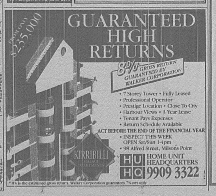 Kirribilli apartments ad June 22 1996 SMH 11RE