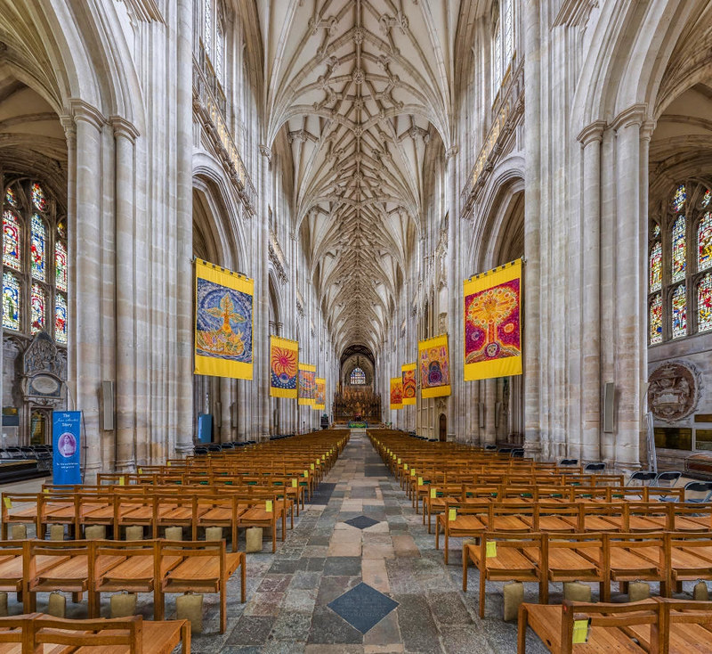 The nave of Winchester Cathedral as viewed from the west looking towards the choir. Credit David Iliff