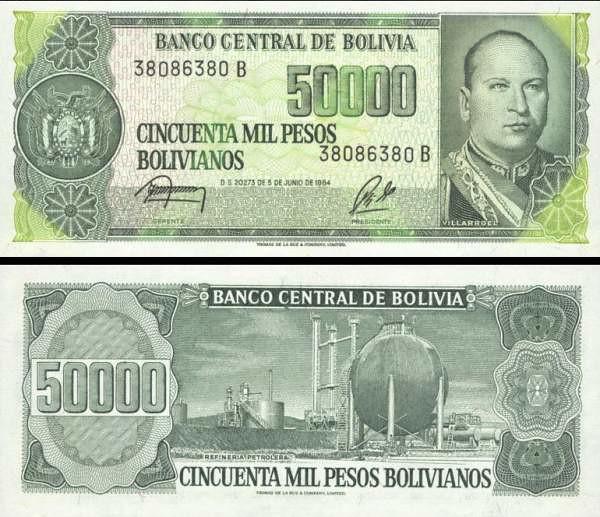50 000 Pesos Bolívia 1984, P170a