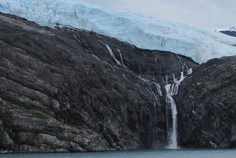 A little waterfall created by snowmelt off the glacier