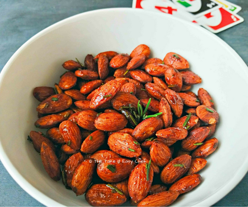 Roasted almonds with rosemary and honey