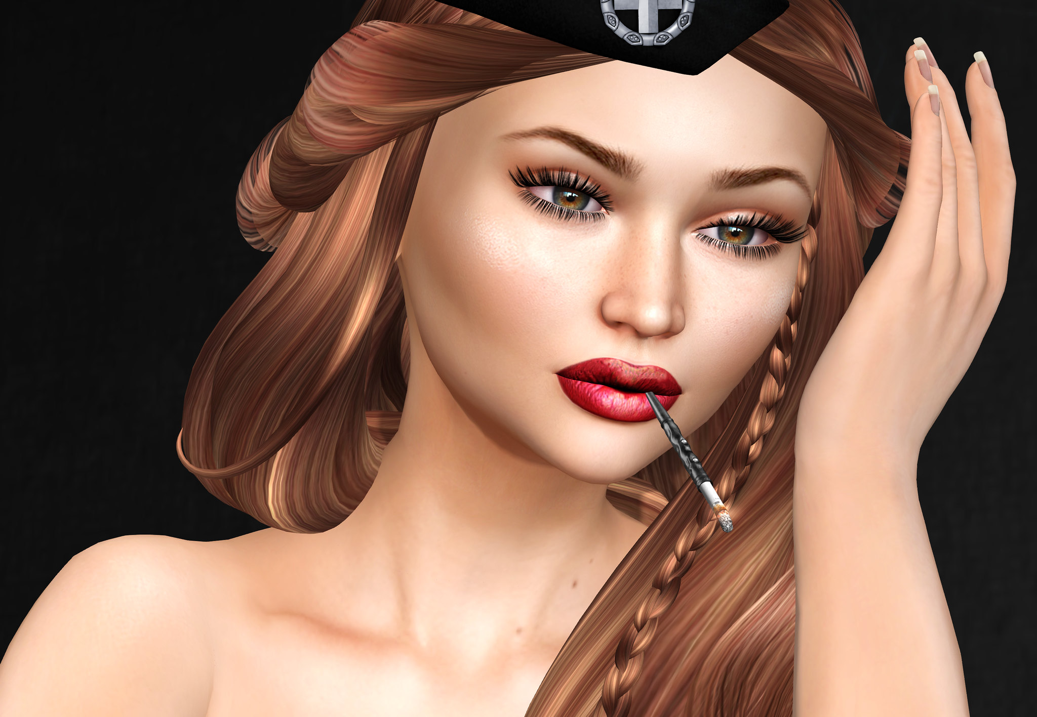 EMOtions, Dessia hair, AG Eyes, Skinnery Lipstick and skin