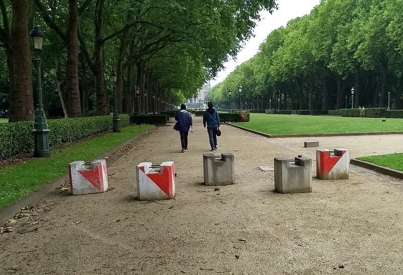 Bollards in Elisabeth Parc, Brussels