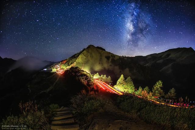 Galaxy  ~ Starry Sky~night-car-trail,Hehuan~合歡銀河車軌