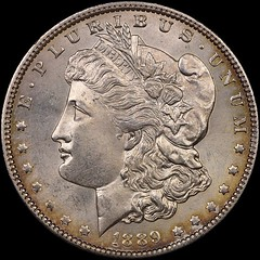 1889-CC Morgan Dollar with joined halves obverse