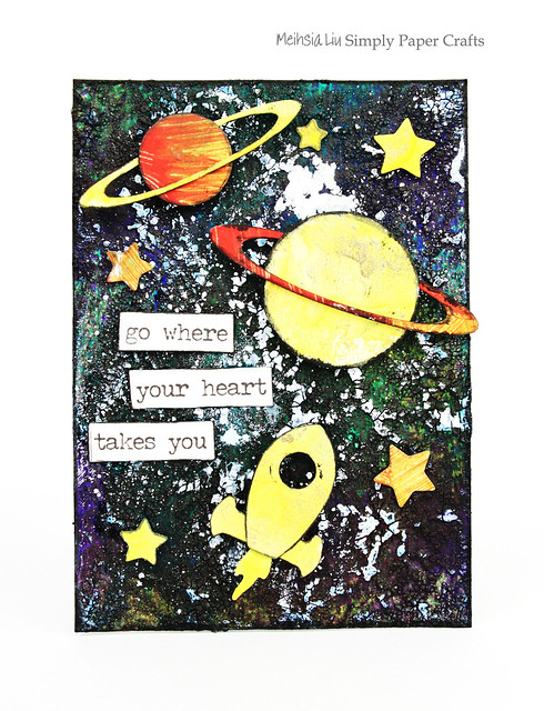 Meihsia Liu Simply Paper Crafts ATC Mixed Media Rocket Planet Universe Simon Says Stamp 1