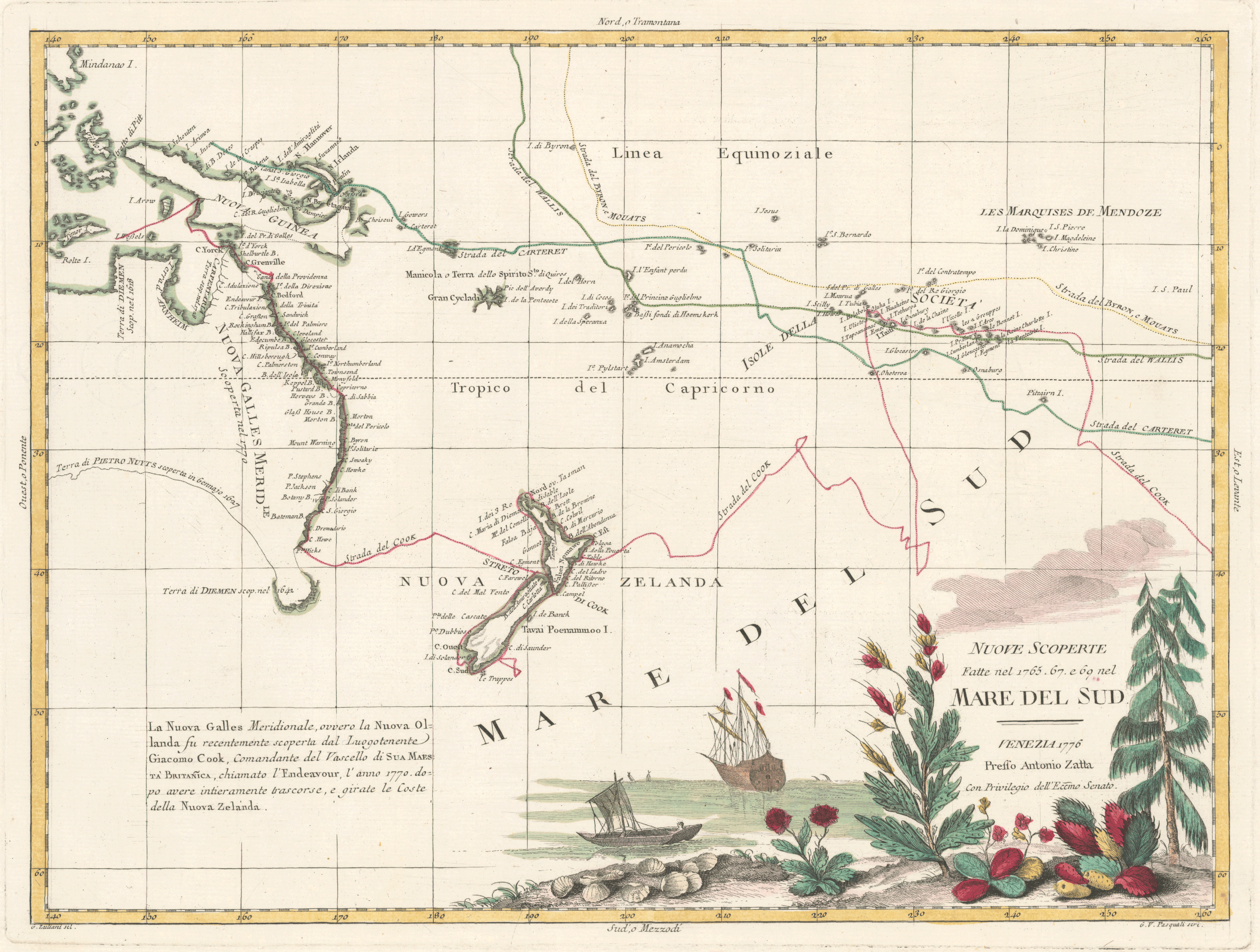 """First decorative map (1776) to show Cook's tracks in the Pacific, recording the discoveries he made in Australia, New Zealand, New Guinea, and the South Pacific during the Endeavour voyage. Also noted are the tracks of Philip Carteret, John Byron, and Samuel Wallis. The chartings of the east coast of Australia and New Zealand's two islands are shown in detail, drawn from Cook's own map of the region, """"Chart of Part of the South Seas"""" (1773). The ship depicted is most probably the Endeavour."""