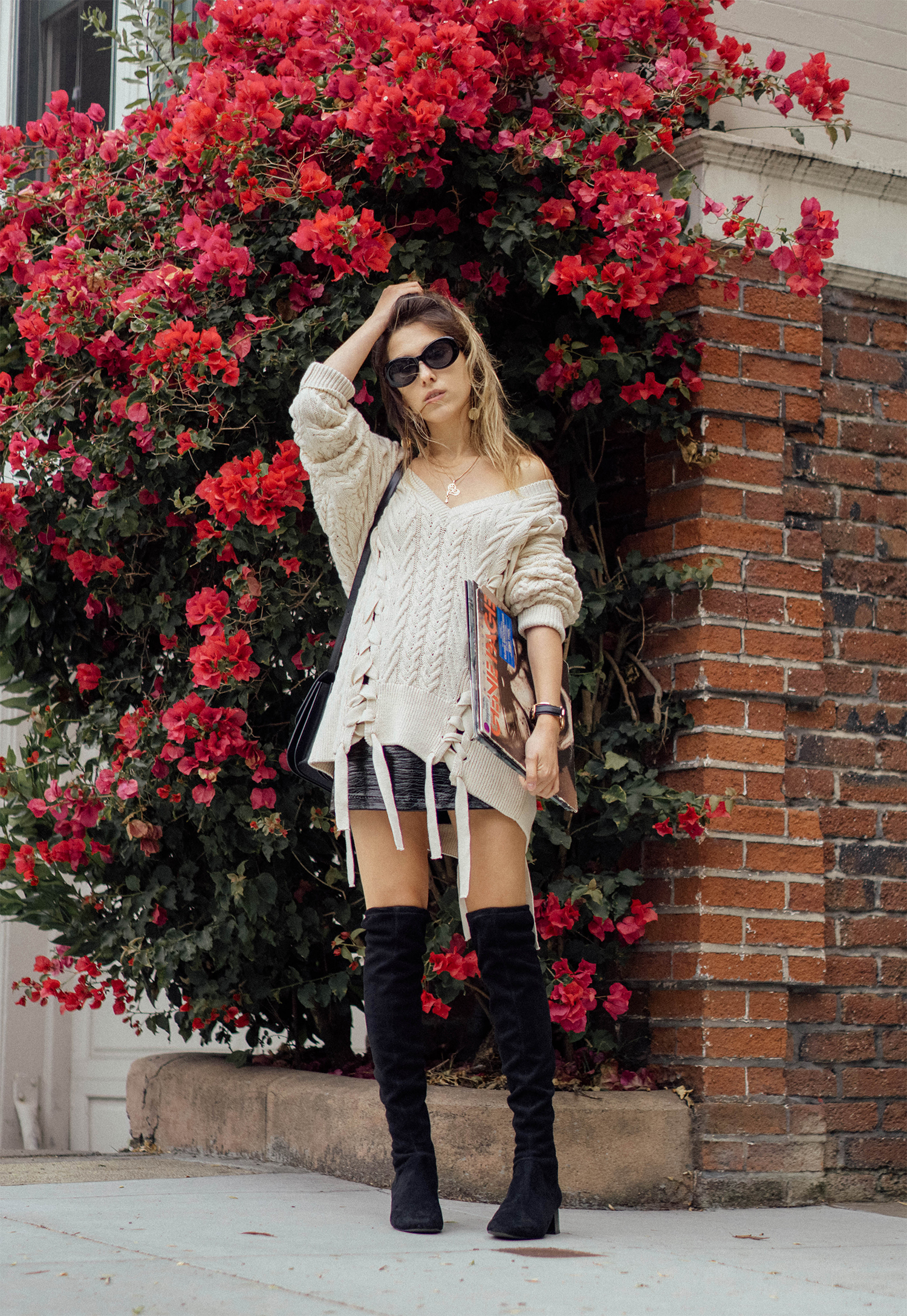 LACE UP SWEATER AND VINYL SKIRT FOR DAY TO DATE NIGHT