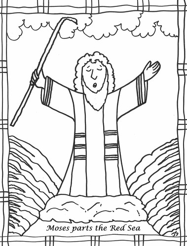 moses parting the red sea coloring page - church coloring pages stushie art