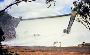 Early Sep 1996 - Wellington Dam on the Collie River in spectacular full flood, with water 2 feet deep spilling over the top at Wellington National Park, Western Australia