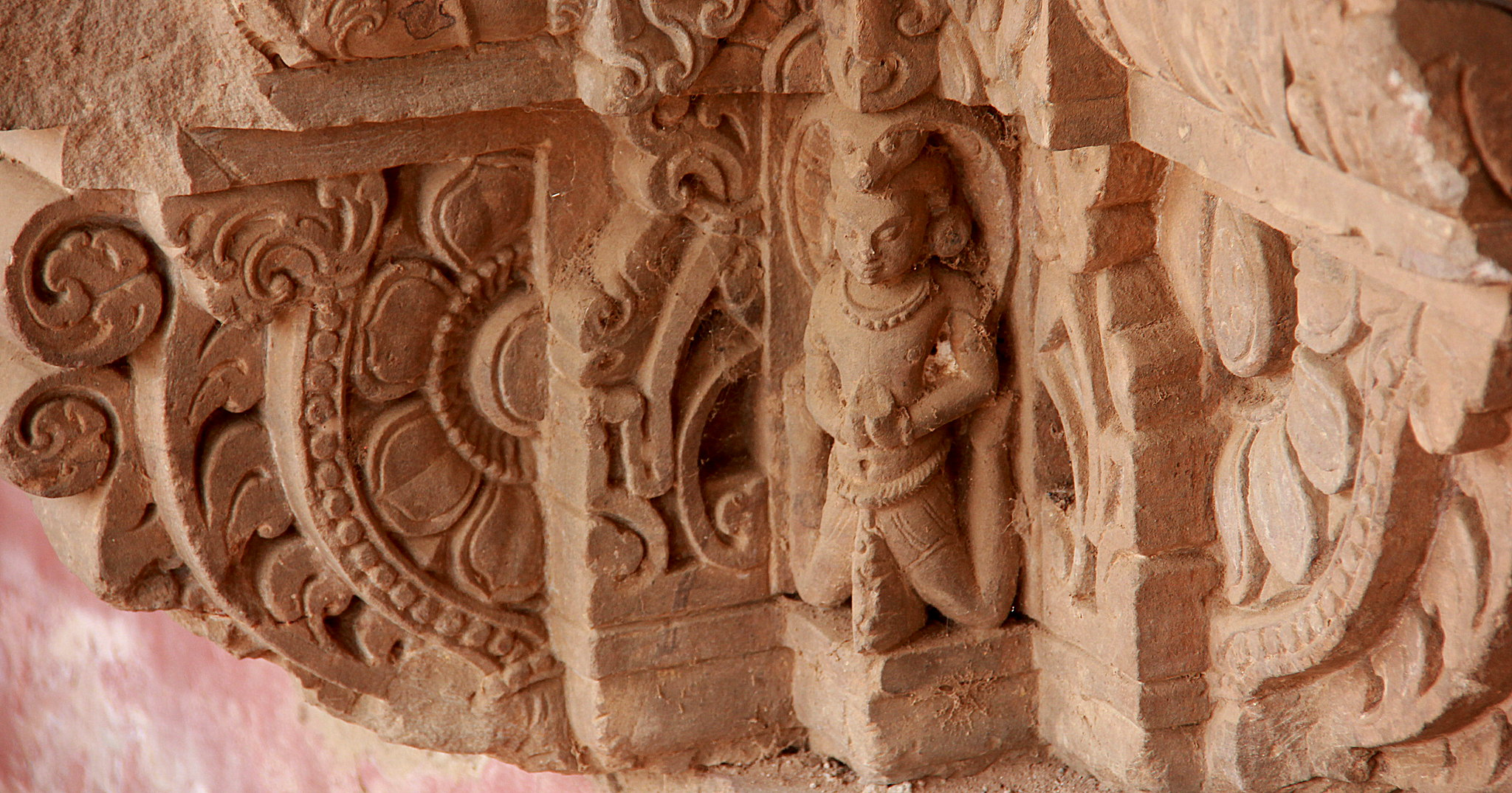 Rich carvings of the Harshat Mata temple next to Abhaneri Stepwell