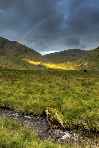 england cumbria lake district lakedistrict mardale common mardalecommon valley water hill mountain sky skyscape cloud rainbow landscape waterscape haweswater reservoir sun sunrise hdr website gatescarth beck stream gatescarthbeck rock