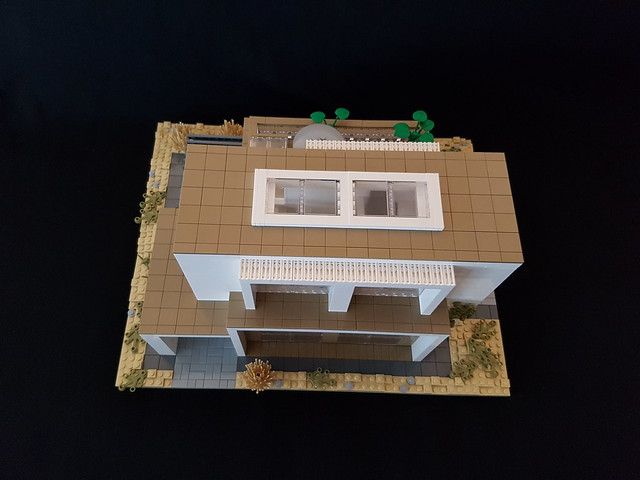 Whitebrick Sand House MOC front exterior and roof from above