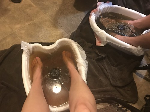 Foot detox day! We had a contest to see whose was the worst. 😂Absolutely CRAZY!