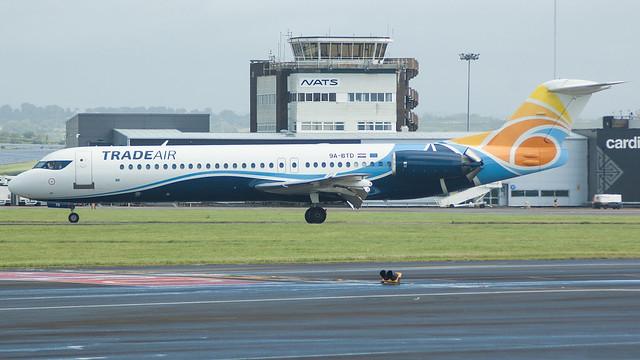9A-BTD - Trade Air F100 @ Cardiff Airport 030817