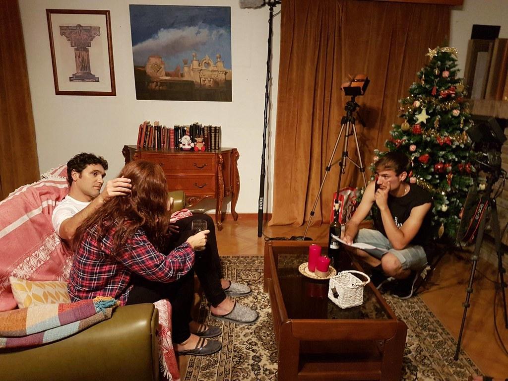 El director Javier Gimeno, junto con Miriam Martín y Nestor Arnas en una de las escenas