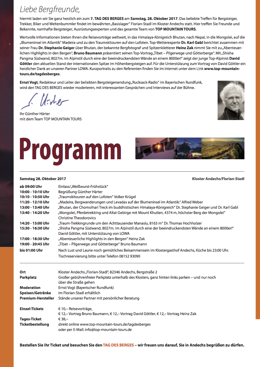 TAG DES BERGES 2017 Programm