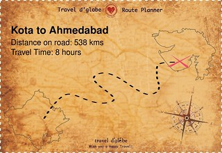 Map from Kota to Ahmedabad