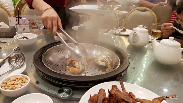 Crabs being steamed