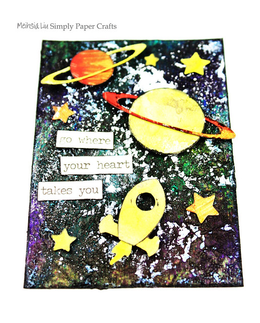 Meihsia Liu Simply Paper Crafts ATC Mixed Media Rocket Planet Universe Simon Says Stamp