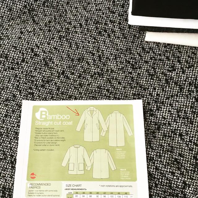 Wool tweed Waffle coat fabric