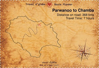 Map from Parwanoo to Chamba