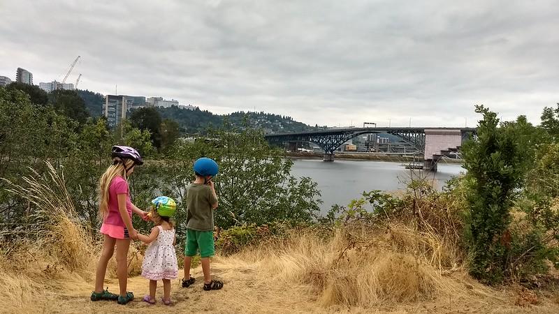 My Three Bikers Overlooking the Willamette