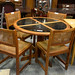 Circular oak and glass dining now E150
