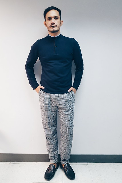 halfwhiteboy - long-sleeved henley shirt and plaid pants 02