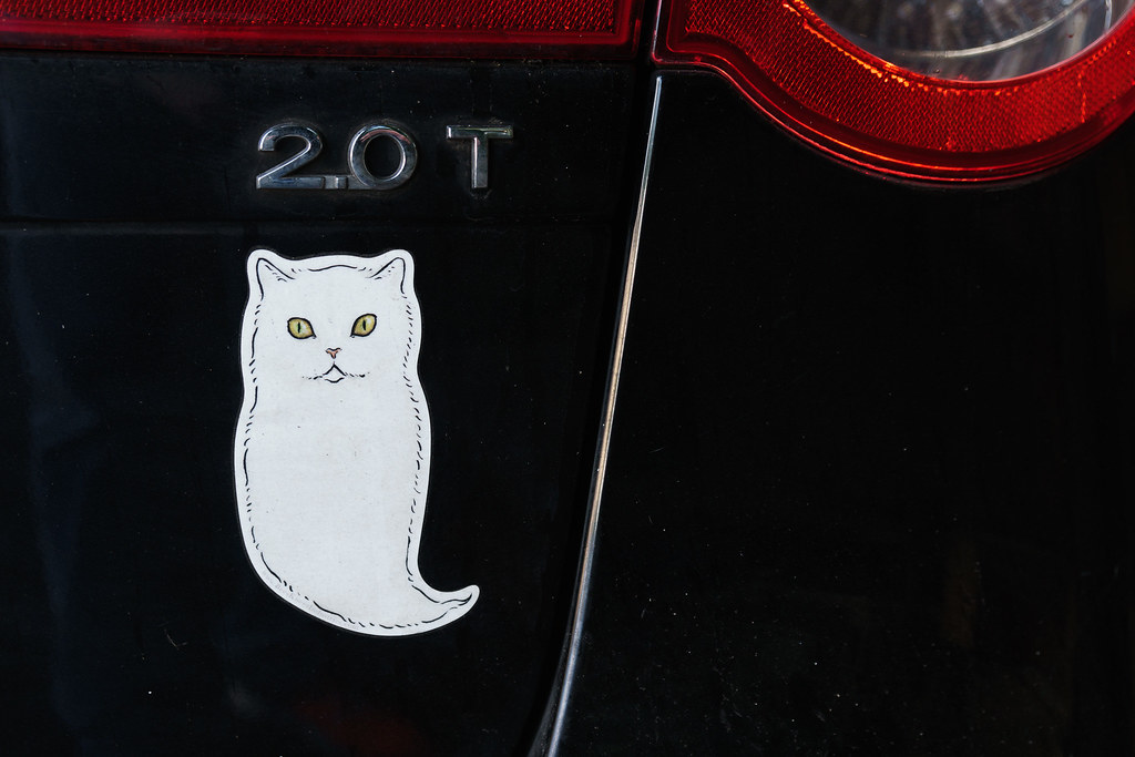 A ghost cat sticker on the back of a car
