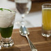 Jasmine tea sorbet with matcha gelee and orange blossom green tea shooter