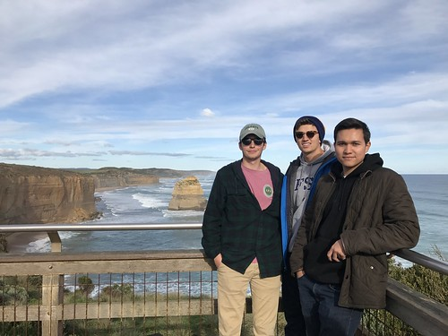 Christian Raimondo '19 in the middle (majoring in Neuroscience)with Brian Corrigan '19 and Cristian Saguil '19 taking in the wonders of the 12 Apostles in Victoria Australia on Austarlia Study Group fall 2017