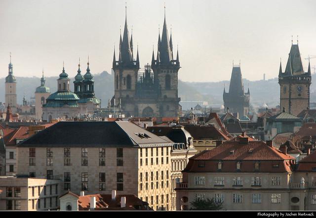 View from the Malostranská mostecká věž, Prague, Czech Republic
