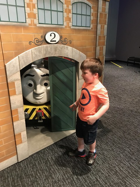 Checking out the Thomas the Train exhibit at COSI