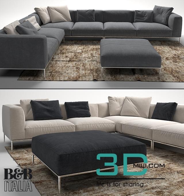 112 frank sofa by b b italia 3d mili download 3d model free 3d