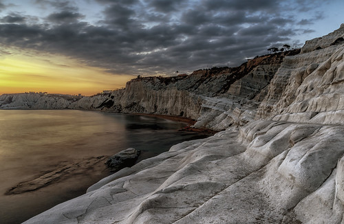 scala dei turchi sicily agrigento seascape rock mountain coastline sunset dusk