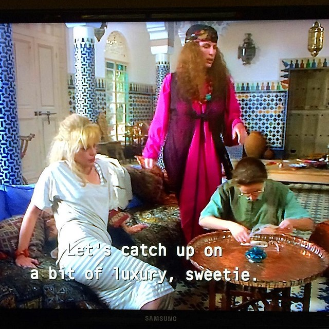 Catching up on a bit of luxury with Mom last night...classic episodes of Aaaaaabsolutely Faaaaabulous 💖
