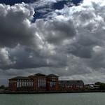 White fluffy clouds at Preston Docks
