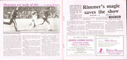 Jimmy Rimmer testimonial programme 1981